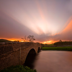 As The Sun Rises by Sandra Cockayne - Landscapes Sunsets & Sunrises ( golden sun, the dales national park, sun, north yorkshire, day break, yorkshire, river ure, sandra cockayne, hawes, the dales, bridge, sunrise, pack horse bridge, river,  )