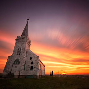 Country Church by Ken Smith - Buildings & Architecture Decaying & Abandoned ( schuyler, sunset, landscape, nebraska, wilson church )