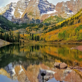Maroon Bells by Rob Hallifax - Landscapes Mountains & Hills ( #maroonbells, #lake, #colorado, #mountains, #reflections,  )