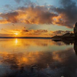 Sunset at Piha, West Coast Beach, New Zealand ... by Anupam Hatui - Landscapes Sunsets & Sunrises ( piha, colors, new zeland, beachscape, landscape, dusk )