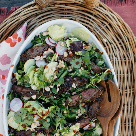Steak Salad with Radishes, Cucumbers & Spicy Ginger Dressing