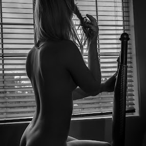 Looking by Preston Trauscht - Nudes & Boudoir Artistic Nude ( trauscht, nude, partial light, black and white, window light, art, beautiful, blond, ass, toned, curves, soft, preston, looking, artistic, butt, trauscht photography )