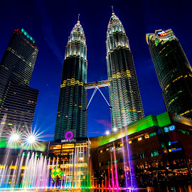 Fountain in front of Petronas Tower  by Biman Sarkar - City,  Street & Park  City Parks ( petronas twin towers, colors, fountain, malaysia,  )