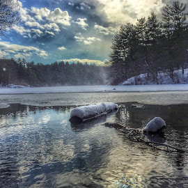 Wakefield Mass by Paul Gibson - Instagram & Mobile iPhone ( winter, hdr, snow, lake, massachusetts )