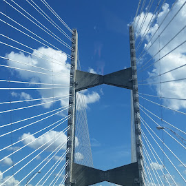 Futuristic Crossing by Dave Dabour - Buildings & Architecture Bridges & Suspended Structures ( clouds, jacksonville, fl, futuristic, future, florida, blue skies, suspension, transportation, bridge )