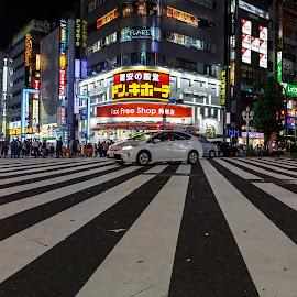 Shinjuku Junction by Vinod Kalathil - City,  Street & Park  Street Scenes ( lights, japan, street, tokyo, night, cityscape )