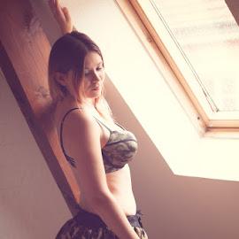 Douceur de vivre by Fraise Des Bois - Nudes & Boudoir Boudoir ( girl, lingerie, window, boudoir, camouflage )
