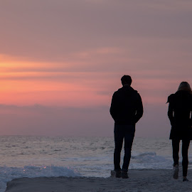 Walk along the Beach by Fonda Thomas - People Couples ( love, water, sunset, blue skies, sun )