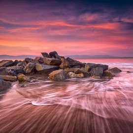 earth, water and sky by Edward Kreis - Landscapes Waterscapes ( clouds, water, riviera nayarit, waterscape, waves, mexico, pacific, ocean, jetty, travel, beach, landscape, atadecer, puerto vallarta, sky, nature, breakwater, long exposure, sunrise, motion, rocks )
