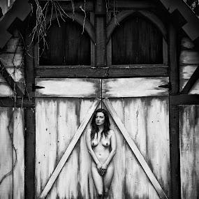 Timid Woman by Melanie Metz - Nudes & Boudoir Artistic Nude ( nude, woman, outdoors, art, beauty, natural, portrait )