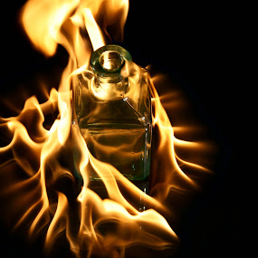 Ring of Fire by Sondra Sarra - Artistic Objects Other Objects ( ring, orange, flames, green, glass, glow, burn, bottle, black, fire )