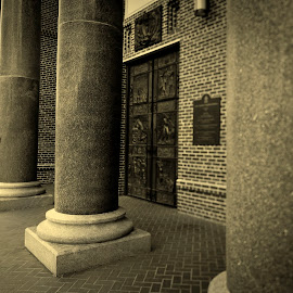 4 pillars by Jim Oakes - Buildings & Architecture Architectural Detail ( marble, church, black and white, daylight, pillars )