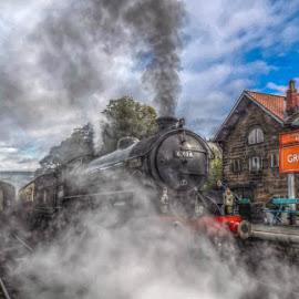 Smoke and Steam by Richard Simpson - Transportation Trains ( steam engine, platform, railway, locomotive, railroad, steam train, train, loco, steam )