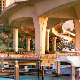 Bridge Over Clearwater Florida Canal by Robin Amaral - Uncategorized All Uncategorized ( overpass, clearwater, transportation, boat, docks, canal, concrete, intracoastal, florida, digital art, mooring, bridge, waterway )