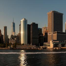 Going back to Manhattan by Frederique Triffaux - City,  Street & Park  Skylines ( skyline, staten island, sunset, sundown, manhattan, new york, dusk, upper new york bay )