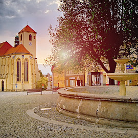 Square of Boskovice by Jiri Cetkovsky - City,  Street & Park  Street Scenes ( squarem church, architecture, boskovice, city )