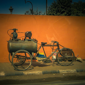 strange machine by Karin Wollina - City,  Street & Park  Street Scenes ( jaipur, street, india, machine, bicycle,  )