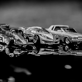 Hot Wheels 6 B&W by Gary Wahle - Artistic Objects Toys ( die-cast, mattel, toy cars, hot wheels,  )