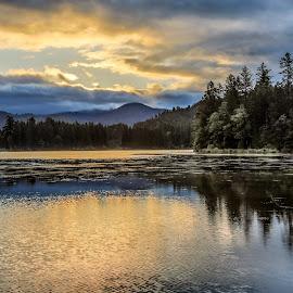 Stormy Sunrise on Lake Selmac by Laurie Calef - Landscapes Sunsets & Sunrises ( oregon, lake selmac, sunrise,  )