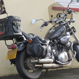 Cornish Motorcycle by Angie Keverne - Transportation Motorcycles ( flag, mororcycle, wheels, sticker, cornish, cornwall )