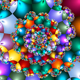 Rainbow Spiral Beads by Peggi Wolfe - Illustration Abstract & Patterns ( abstract, wolfepaw, unique, bead, color, bright, unusual, fun, spiral, fractal, rainbow, digital )