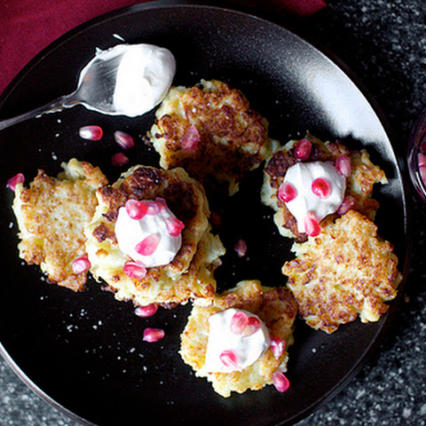 Cauliflower-Feta Fritters with Smoky Yogurt, Pomegranate