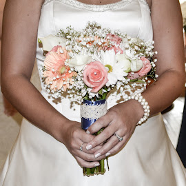 Bride and Flowers by Amanda Nutt - Wedding Bride ( happy, wedding, white, pink, bride, flowers, lilly )