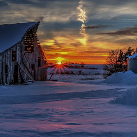 Abandoned  by Casey Mitchell - Buildings & Architecture Other Exteriors ( abandoned farm winter sunset snow rural barn,  )