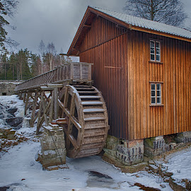 Sandbekk Mill by Jørgen Schei - Buildings & Architecture Public & Historical ( history, mill, building, winter, hdr, ice, snow, sandbekk mølle, østfold, degernes )