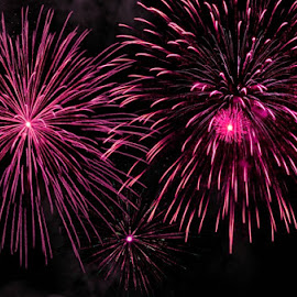 Pink Fireworks by B Lynn - Abstract Fire & Fireworks ( abstract, bright, firework, beautiful, fun, beauty, party, pretty, fire, lights, sky, color, fireworks, hot pink, pink, festival, celebration, light, celebrate, breast cancer awareness, lighting, mood factory, mood, scents, mood-lites, sassy, brighten our world )