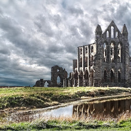 Whitby Abbey by Katherine Rynor - Buildings & Architecture Public & Historical ( reflection, yorkshire, whitby, ruins, abbey )