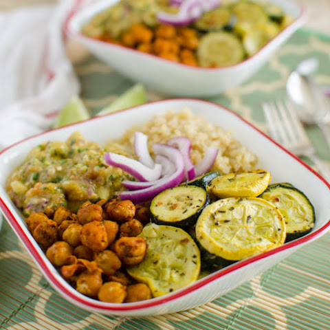Roasted Veggie & Quinoa Bowl With Avocado Sauce