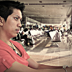 WAITING by Elmer Tendero - People Portraits of Men ( airport, red, jeddah, waiting, bokeh, saudi arabia )