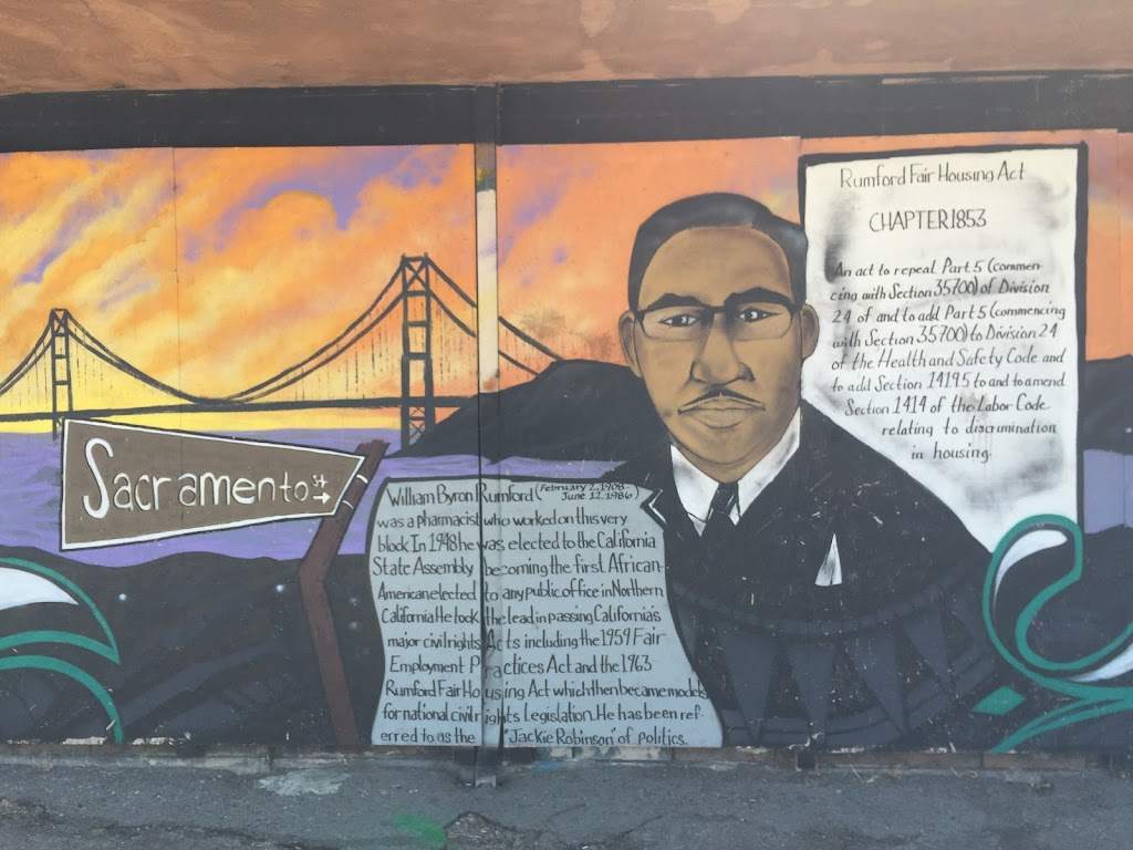 William Byron Rumford(February 2, 1908 - June 12, 1986) was a pharmacist who worked on this very block. In 1948 he was elected to the CaliforniaState assembly becoming the first AfricanAmerican ...