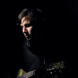 Mike playing by Ulises Rivero - People Portraits of Men ( headshot, dramatic, musician, men, portrait,  )