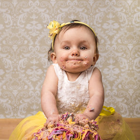 Let her eat cake!  by Tracey Dobbs - Babies & Children Toddlers ( child, girl, cute, portrait, eyes, cakesmash )