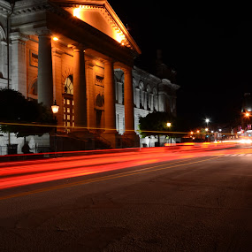 Downtown at night by Carolyn Holland - City,  Street & Park  Street Scenes