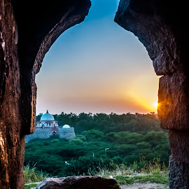 by Akashneel Banerjee - Instagram & Mobile Android ( tomb, sky, window, sunset, fort )
