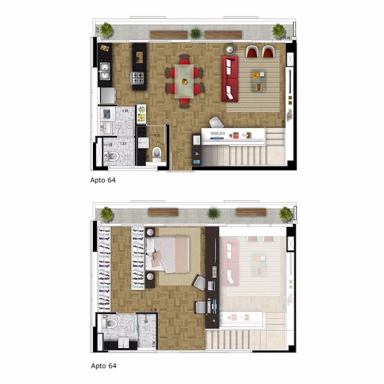 Planta apto 64 - 95 m²