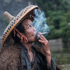 Smoking Hat by Jim Harmer - People Street & Candids ( smoking, man, china )