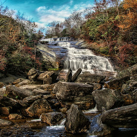 Second Falls NC by Jo Anne Keasler - Landscapes Waterscapes