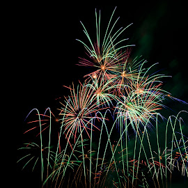 Symetry by Jeff McVoy - Abstract Fire & Fireworks ( blast, colorful, colors, show, fire, symetry, color, explosion, dark, fireworks, night, light, rainbow )