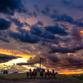 Rodeo under a Western Sky by Gary Hanson - Landscapes Sunsets & Sunrises ( clouds, color, sunset, rodeo, western sky )
