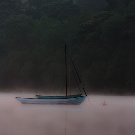 'Dawn Mist' by Katherine Flynn - Transportation Boats ( water, dawn, bala lake, wales, lake, morning, boat, mist, relax, tranquil, relaxing, tranquility )