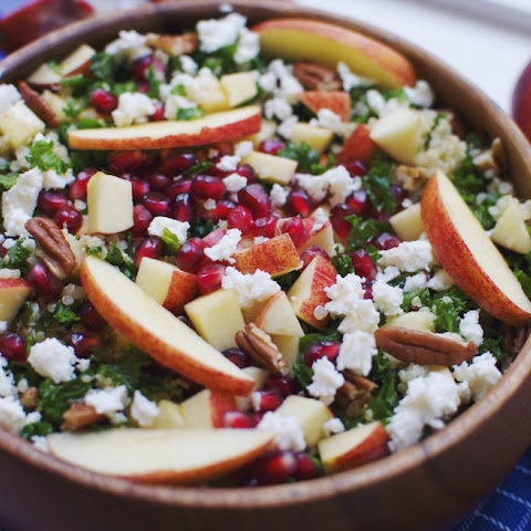 Kale Salad With Quinoa, Apple, Pomegranate And Feta