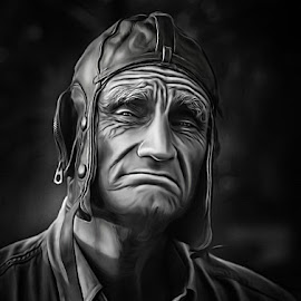 Old Man - Smudge Art by V Creations - Digital Art People ( black and white, digital art, paint, old man, photoshop )