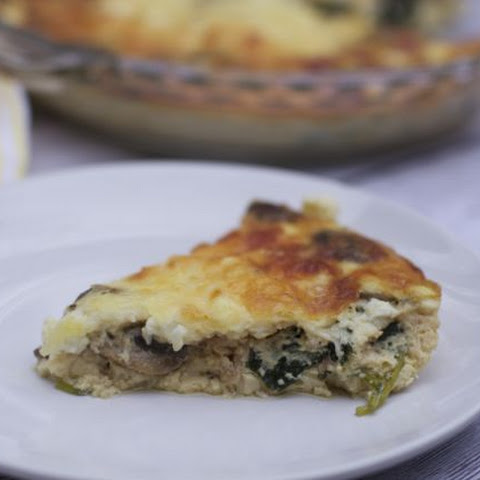 3 Cheese, Mushroom, Kale Crustless Quiche