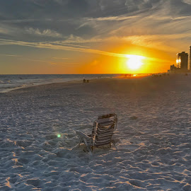 Chair in the Sunset by Barry Lehman - Landscapes Beaches ( chair, sunset, alabama, beach, landscape )