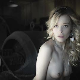 Rage Against the Machine by Jim Devonshire - Nudes & Boudoir Artistic Nude ( blonde, topless, machine shop, beautiful, breasts, olivia preston )