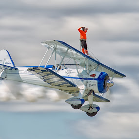 Riding The Wing by Mark Theriot - Transportation Airplanes ( stearman, 2012, waukegan, wing walker, air show )